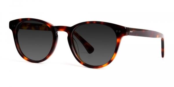 black and red round tortoiseshell full rim dark grey tinted sunglasses frames