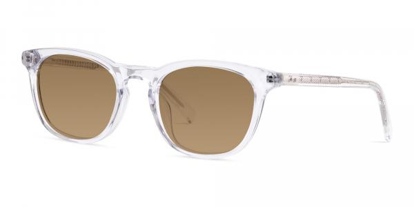 crystal clear or transparent wayfarer brown tinted sunglasses frames