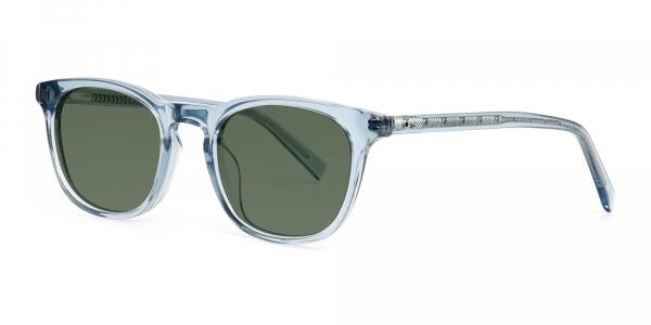blue transparent wayfarer dark green tinted sunglasses frames