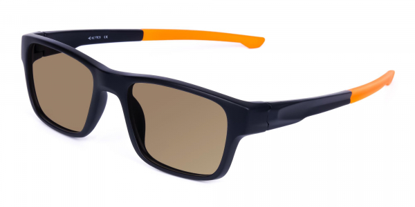 prescription sport sunglasses in rectangle shape with brown tint