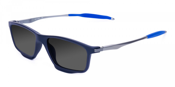 Small Black Rectangle Polarized Sunglasses For Fishing With Grey Tint