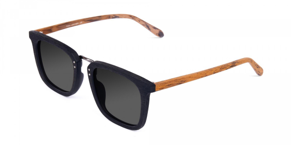 Wood Black Square Sunglasses with Grey Tint