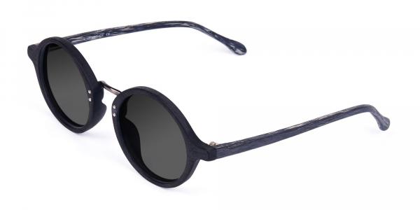Black Round Wood Sunglasses with Grey Tint
