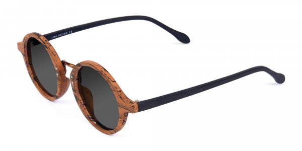 Round Brown Wood Sunglasses With Grey Tint