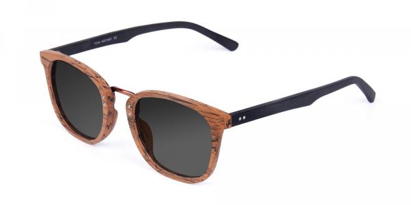 Wooden Brown Square Designer Sunglasses