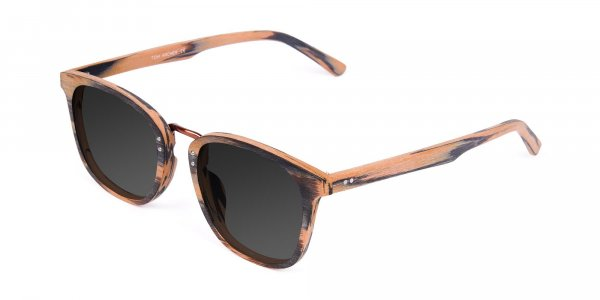 Grey Wooden Large Square Sunglasses