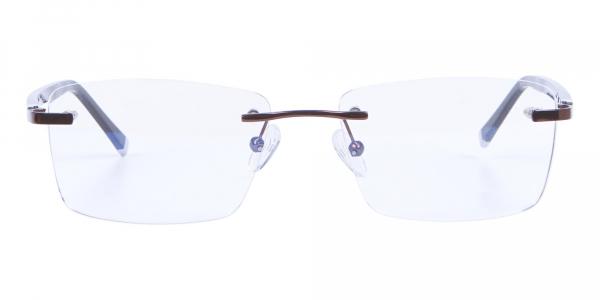 Detailed Rimless Glasses & Ticker Temple