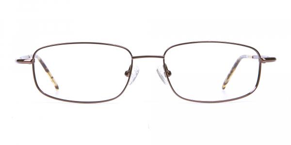 Rectangular Eyeglasses in Brown, Eyeglasses
