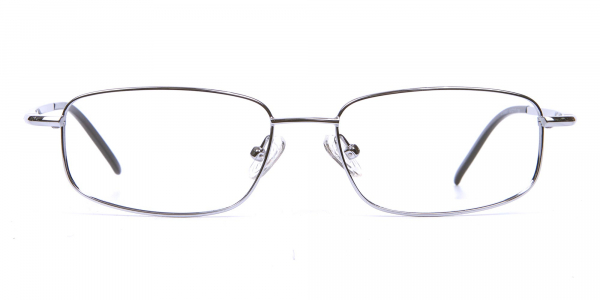 Silver Rectangular Eyeglasses Frame in Metal