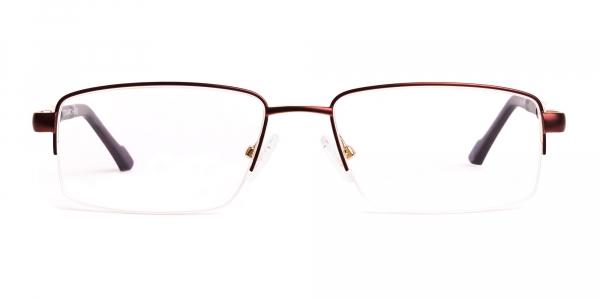 brown rectangular half rim rectangular glasses frames