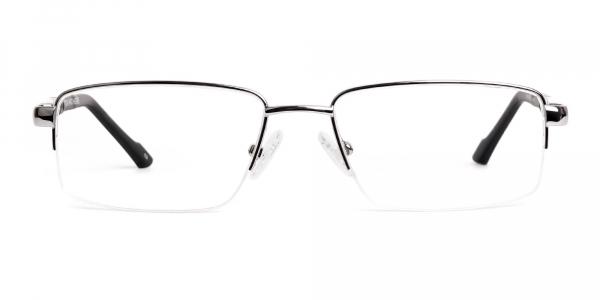 silver and black half rim rectangular glasses frames