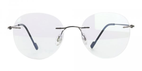 Gunmetal Rimless Round Glasses