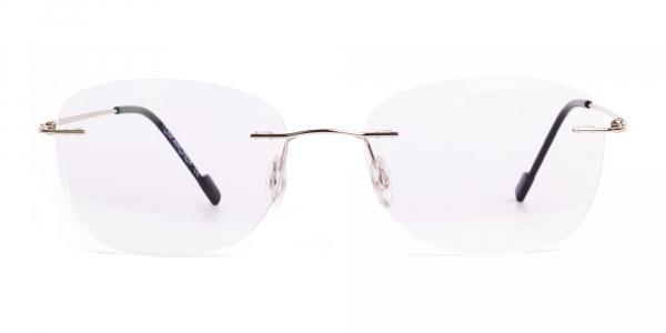 silver wayfarer rimless glasses frames