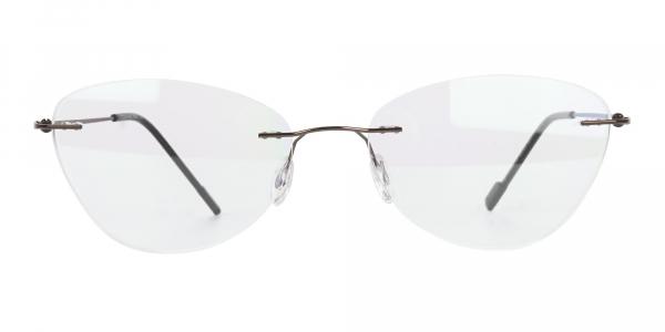 Rimless Cat Eye Glasses in Brown Metal