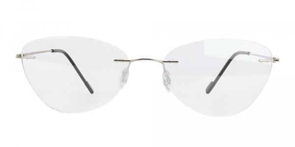 Rimless Cat Eye Glasses in Silver Metal