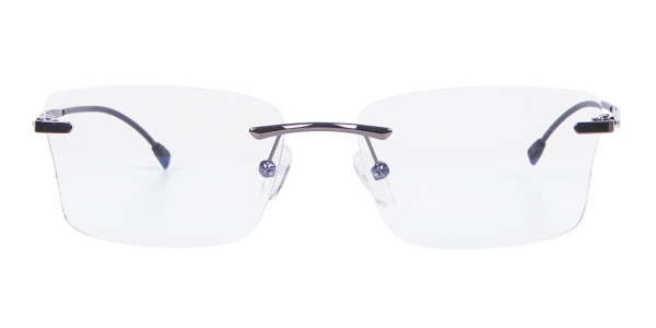 Gunmetal Rimless Rectangular Frame UK