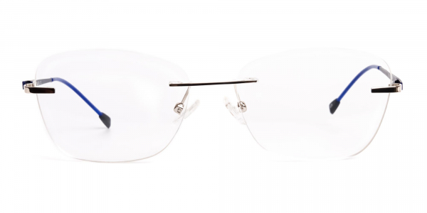 silver and blue cateye rimless glasses frames