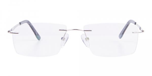 Silver Rectangular Rimless Frame UK