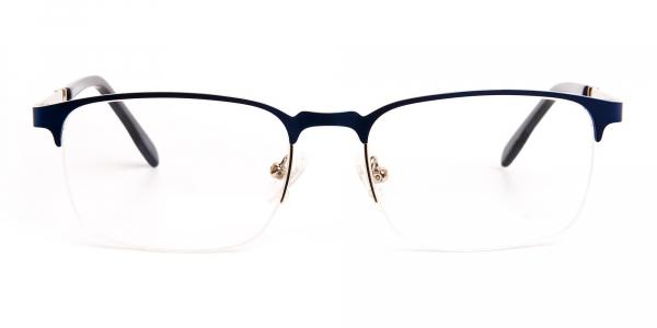 dark and navy blue rectangular half rim glasses frames