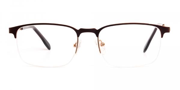 dark brown rectangular half rim glasses frames