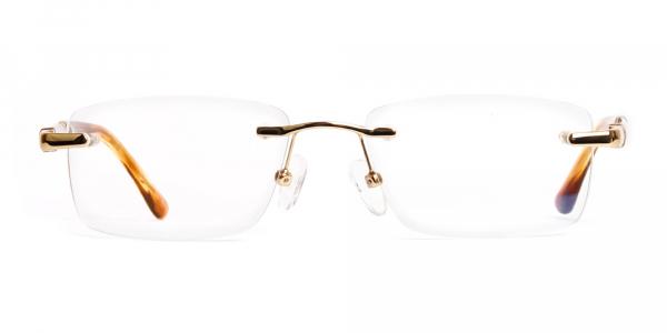 champagne gold rectangular rimless titanium glasses frames