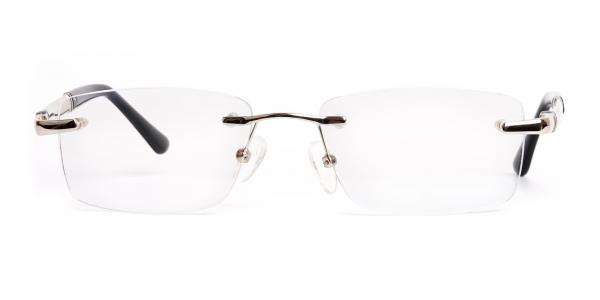 silver and black rectangular rimless glasses frames