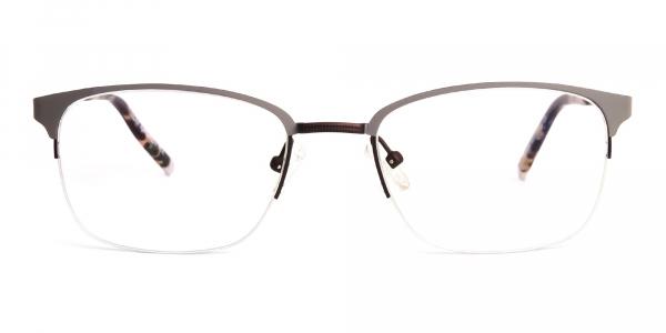 rectangular gunmetal half rim glasses frames