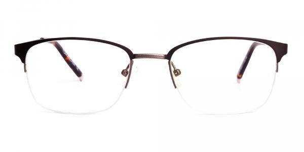 matte brown half rim rectangular glasses frames