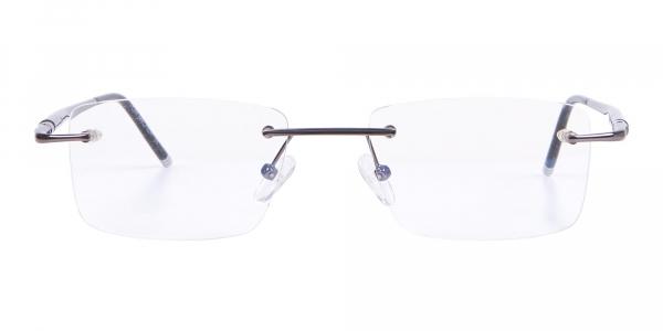 Gunmetal Rimless Lightweight Glasses Online