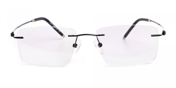 designer black rectangular rim less glasses frames