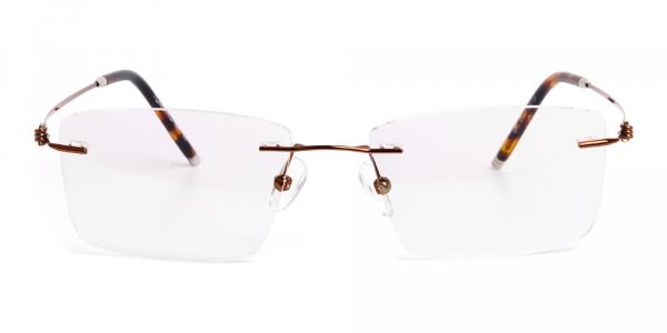 brown rectangular rimless titanium glasses frames