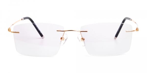 gold rectangular rimless titanium glasses frames