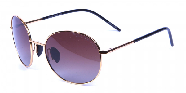 Gold Frame Round Sunglasses with Brown Lens