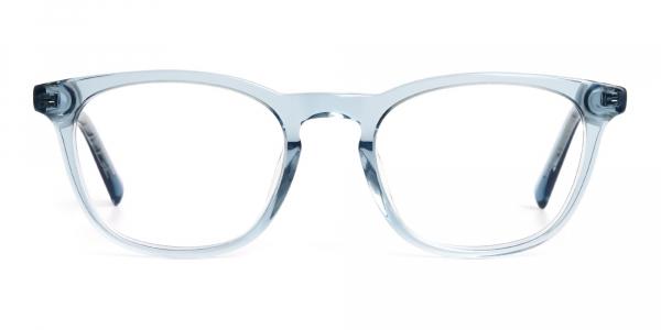 crystal clear or transparent blue full rim glasses frames