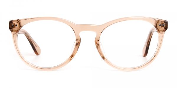 transparent brown round full rim glasses frames