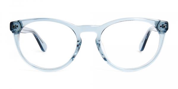 transparent blue round full rim glasses frames