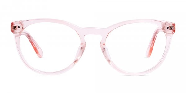 crytal clear or transparent nude and hot pink full rim glasses frames
