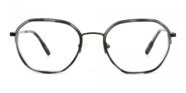 Gunmetal and Dusty Blue Geometric Glasses in Gunmetal