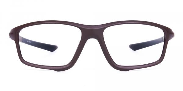 Dark Brown Rectangular Prescription Sports Glasses For Running