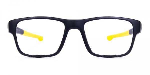 Bright Yellow and Black Rectangular Glasses