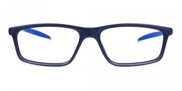 Rectangle Shape Blue Sports Glasses