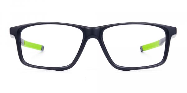Black Green Rectangular Rimmed Glasses
