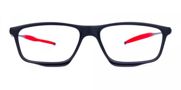 Black Red Rectangular Full Rim Glasses