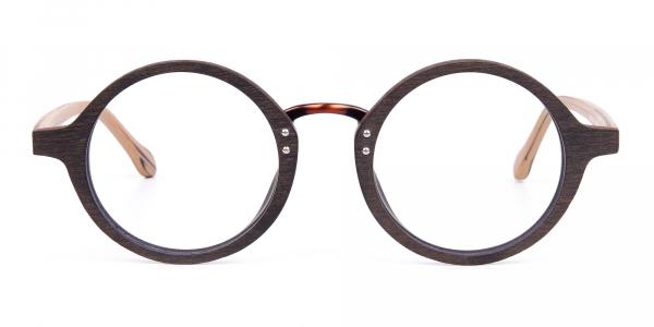 Brown Round Full Rim Wooden Glasses