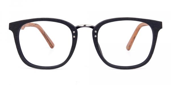 Wooden Texture Black Full Rim Glasses