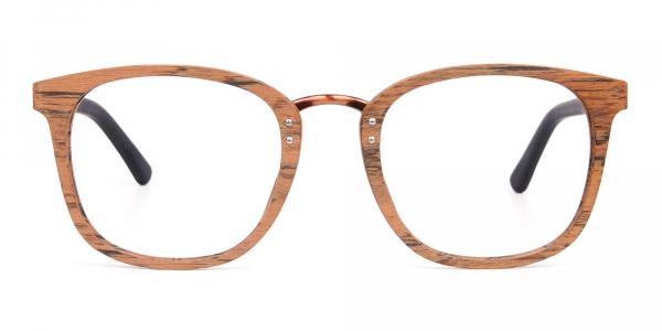 Wooden Texture Elm Brown Rim Glasses