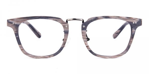 Stripe Grey Full Rim Wooden Glasses