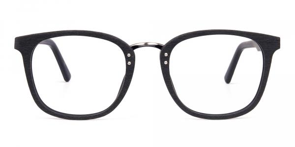 Texture Black Square Wood Rim Glasses