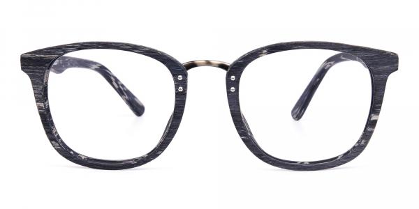 Wooden Texture Stripe Grey Rim Glasses
