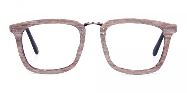Wooden Texture Walnut Brown Rim Glasses
